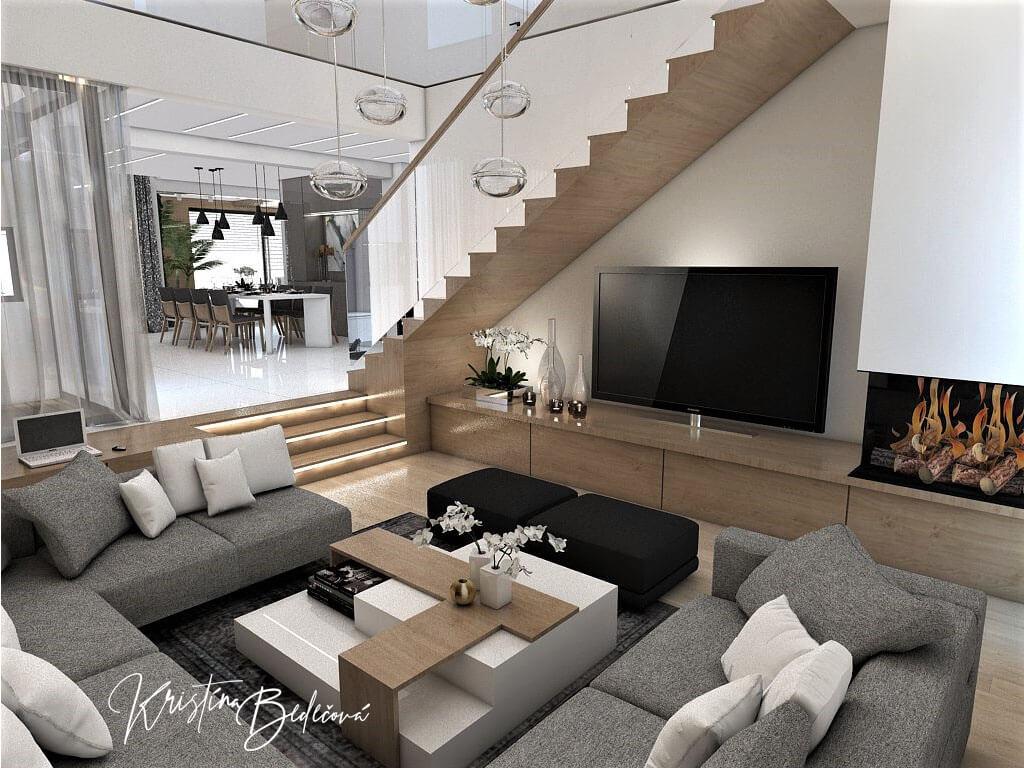 Návrh rodinného domu Rodinný dom s wellness, pohľad na schody v obývačke