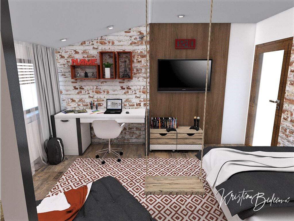 Návrh interiéru detskej izby Tehlové kráľovstvo, pohľad na písací stôl a televízor