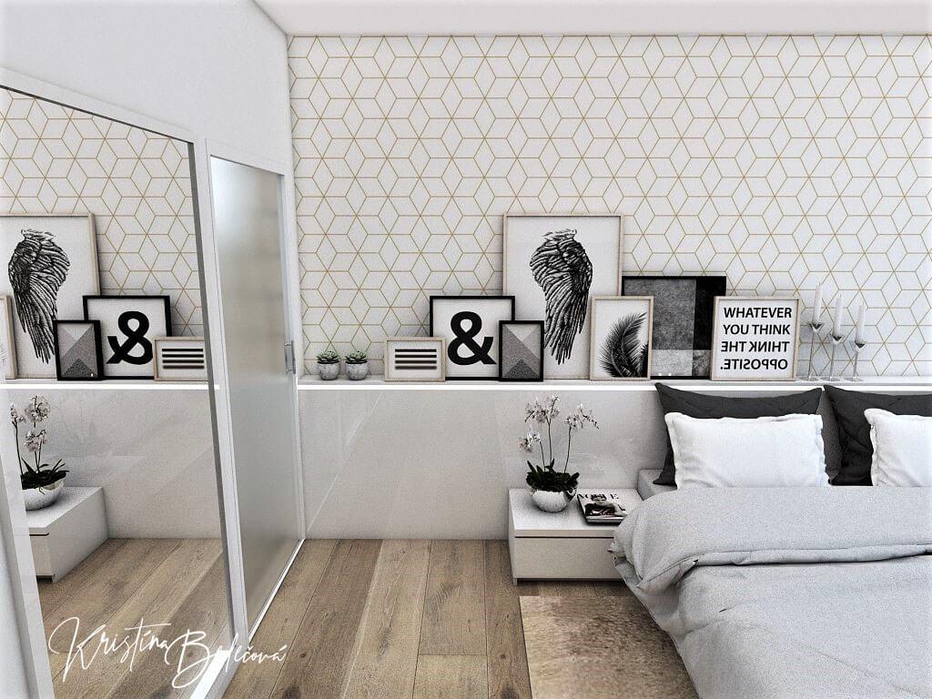 Dizajn interiéru spálne Jemná neha, pohľad na zavreté dvere do rodičovskej kúpeľne