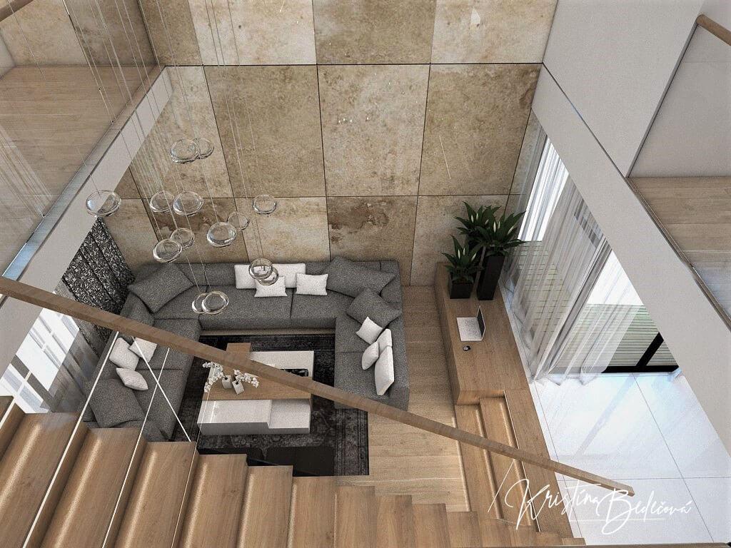 Návrh rodinného domu Rodinný dom s wellness, pohľad zo schodiska do obývačky