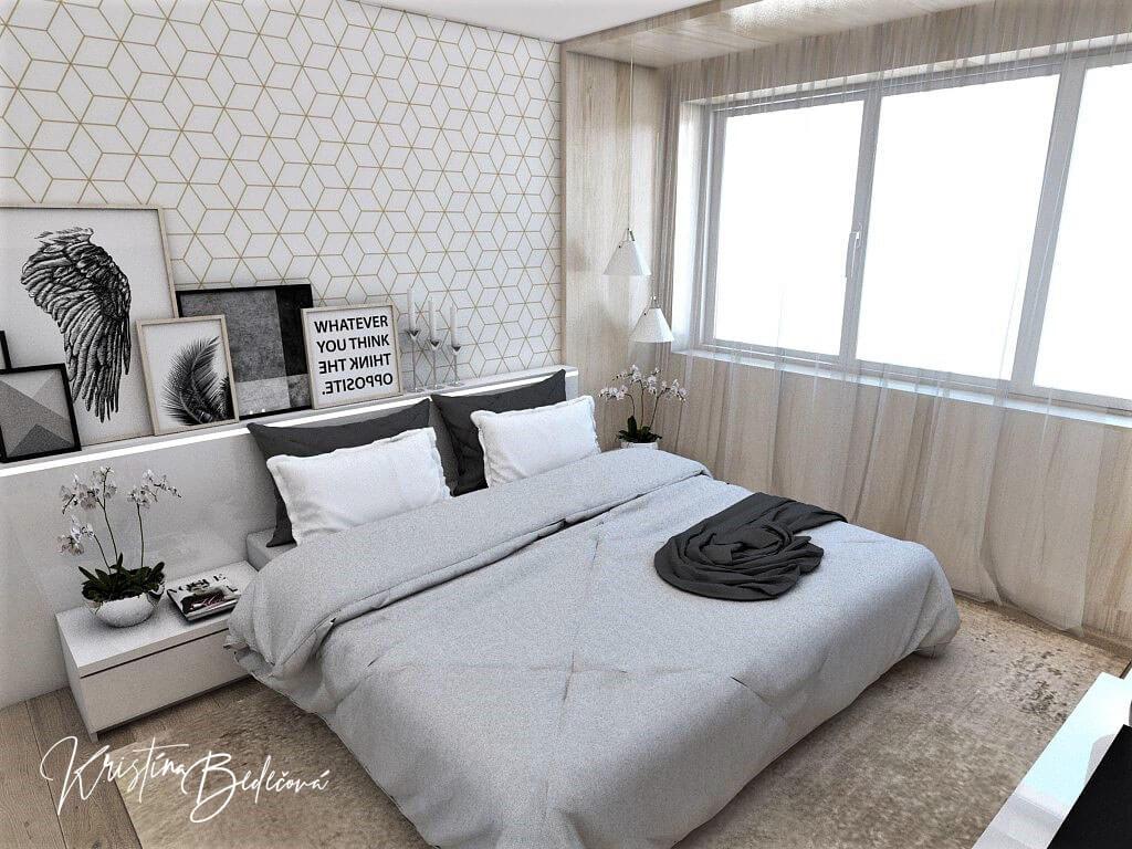 Dizajn interiéru spálne Jemná neha, pohľad na manželskú posteľ