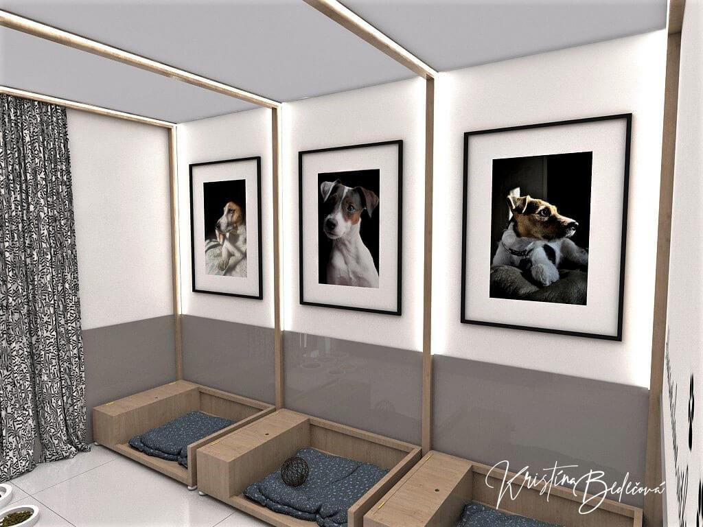 Návrh rodinného domu Rodinný dom s wellness, pohľad do psej izby