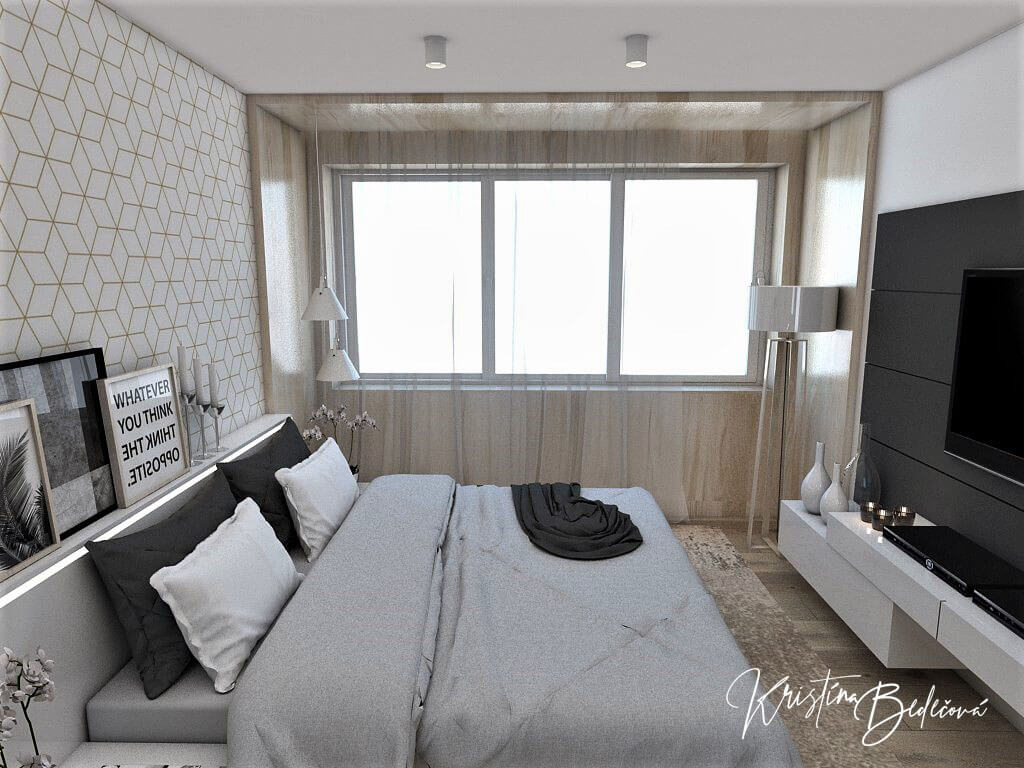 Dizajn interiéru spálne Jemná neha, pohľad na okná cez manželskú posteľ