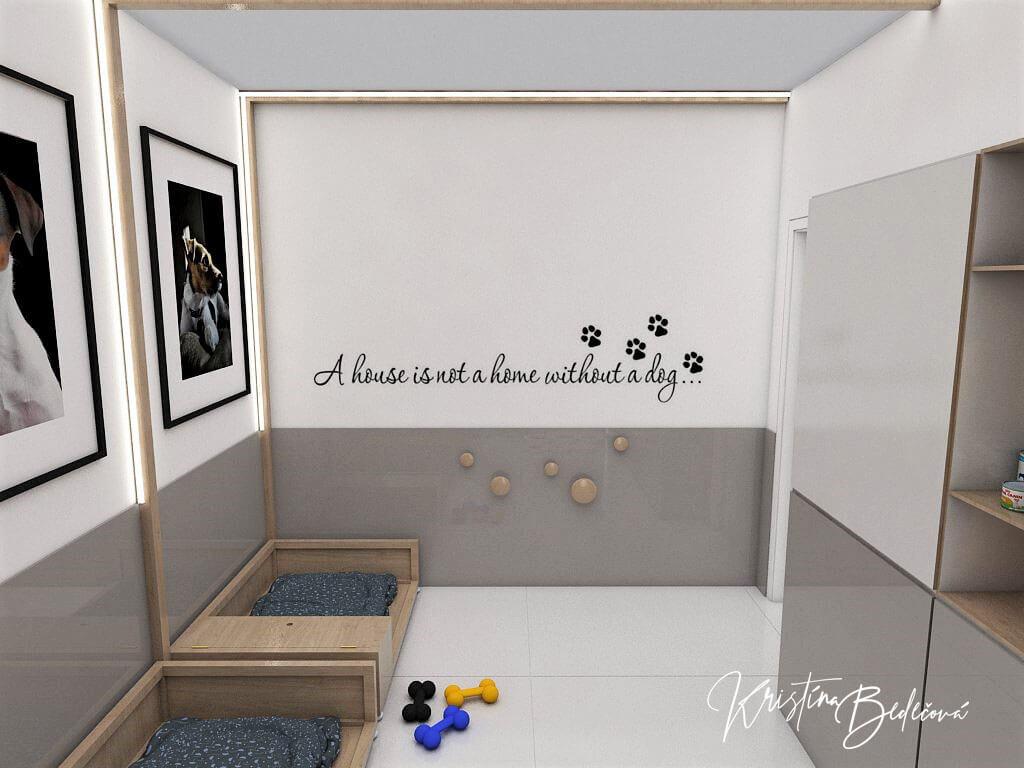 Návrh rodinného domu Rodinný dom s wellness, čelný pohľad do psej izby