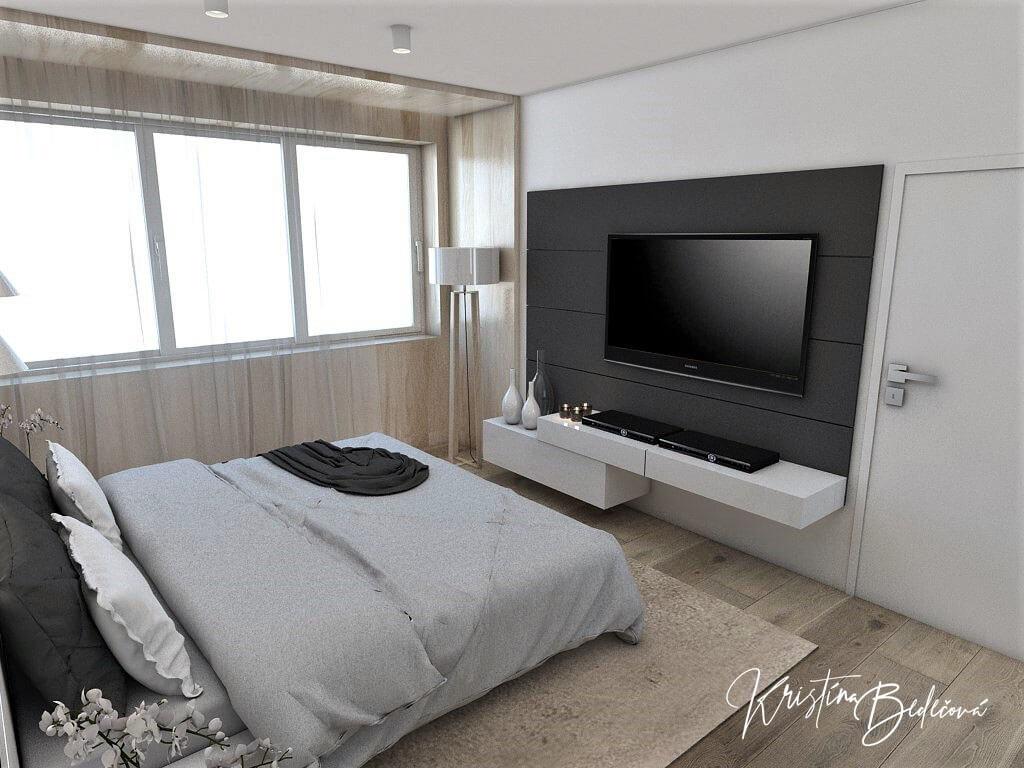 Dizajn interiéru spálne Jemná neha, pohľad na okná a televízor