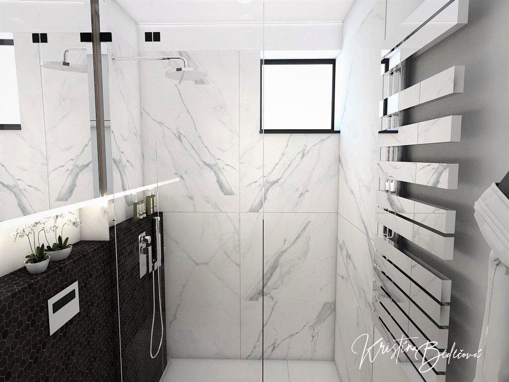 Návrh rodinného domu Rodinný dom s wellness, pohľad do kúpeľne na prízemí