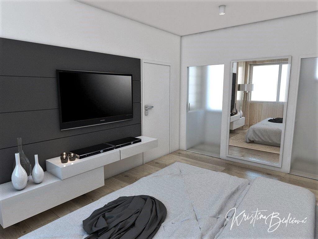 Dizajn interiéru spálne Jemná neha, pohľad na televízor z manželskej postele