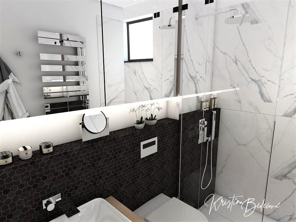 Návrh rodinného domu Rodinný dom s wellness, pohľad na zrkadlo kúpeľne na prízemí