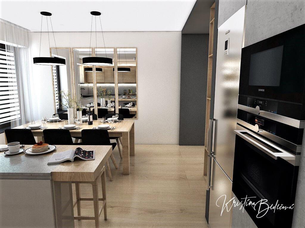 Dizajn kuchyne s obývačkou V tmavých tónoch, pohľad z kuchyne do jedálne