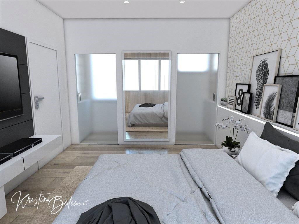 Dizajn interiéru spálne Jemná neha, pohľad cez manželskú posteľ na rodičovskú kúpeľňu