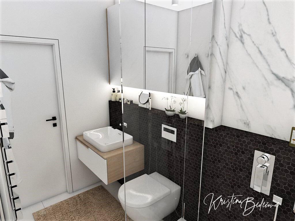 Návrh rodinného domu Rodinný dom s wellness, pohľad na vstup do kúpeľne na prízemí