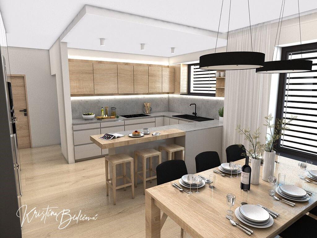 Dizajn kuchyne s obývačkou V tmavých tónoch, pohľad z jedálne do kuchyne
