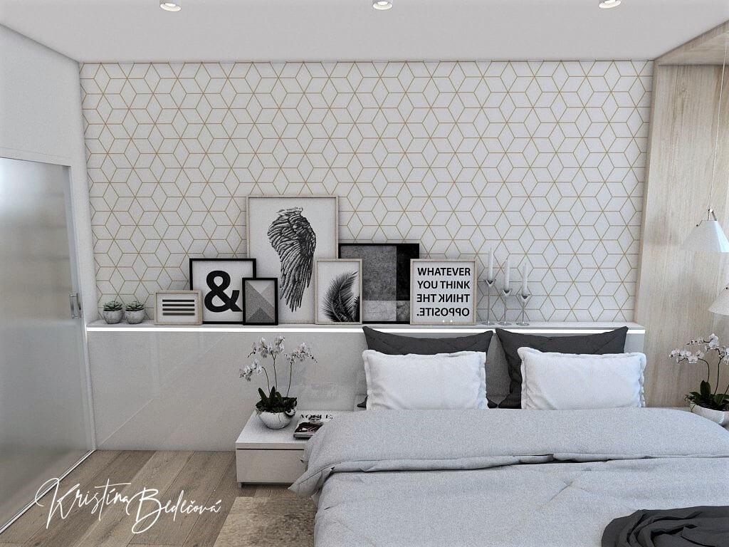 Dizajn interiéru spálne Jemná neha, pohľad na stenu za manželskou posteľou