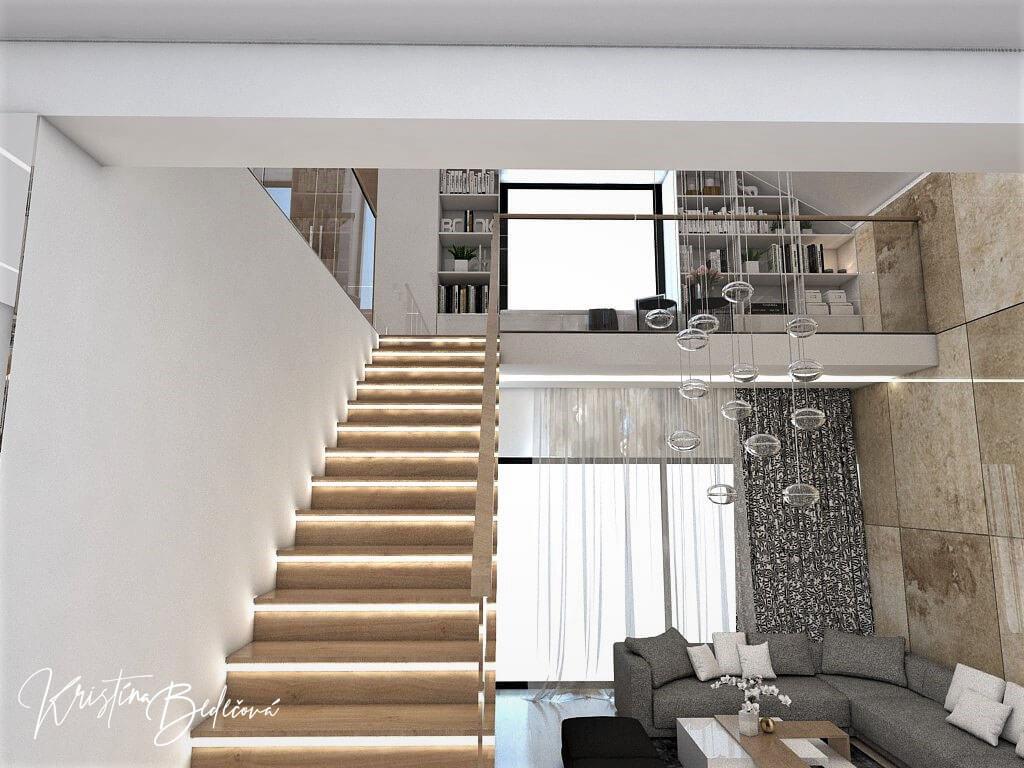 Návrh rodinného domu Rodinný dom s wellness, pohľad na schodisko a galériu z prízemia