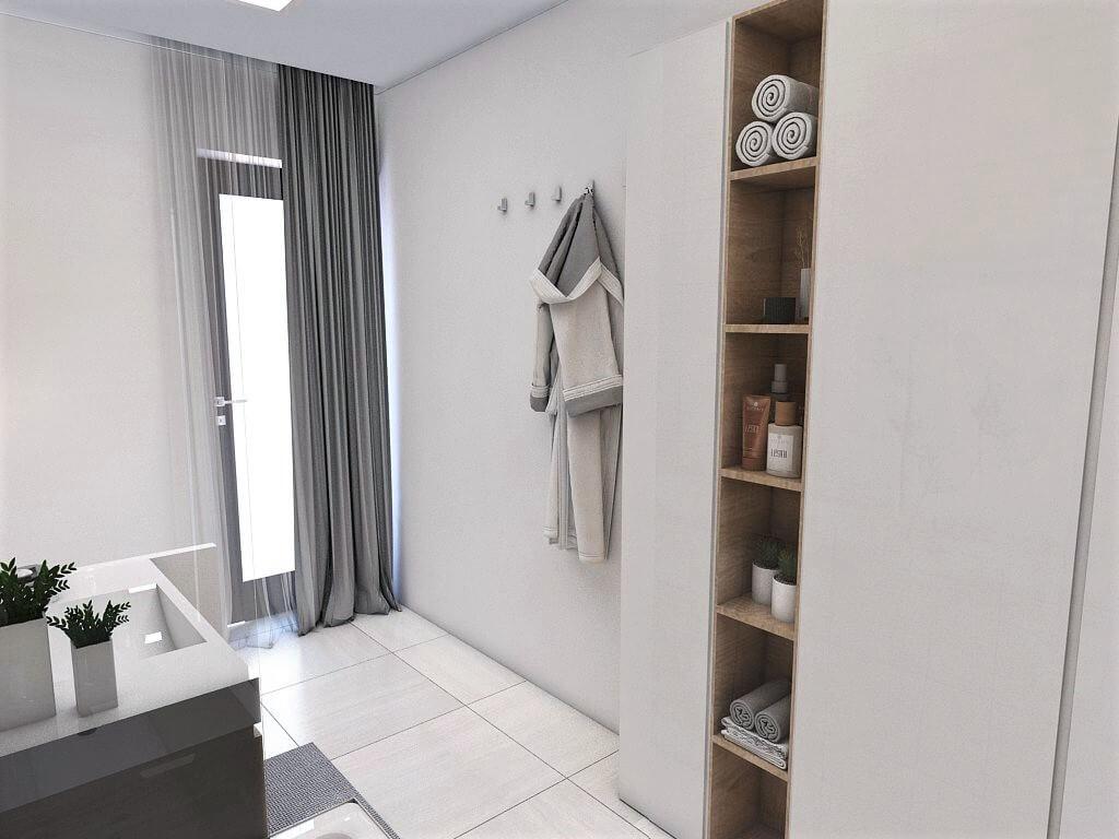 Návrh interiéru kúpeľní 2 v 1 pohľad z vane spoločnej kúpeľne