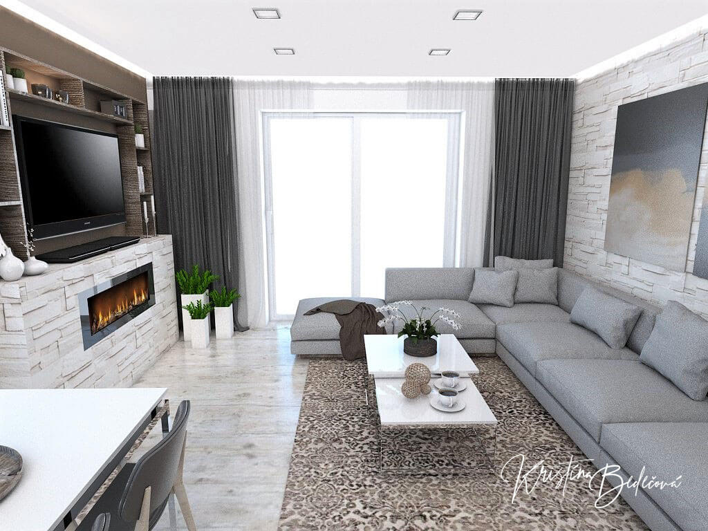 Dizajn kuchyne s obývačkou Fuknčná elegancia, pohľad na veľké okno