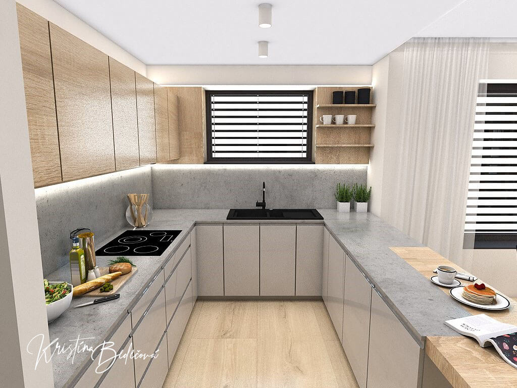 Dizajn kuchyne s obývačkou V tmavých tónoch, pohľad na kuchynskú linku
