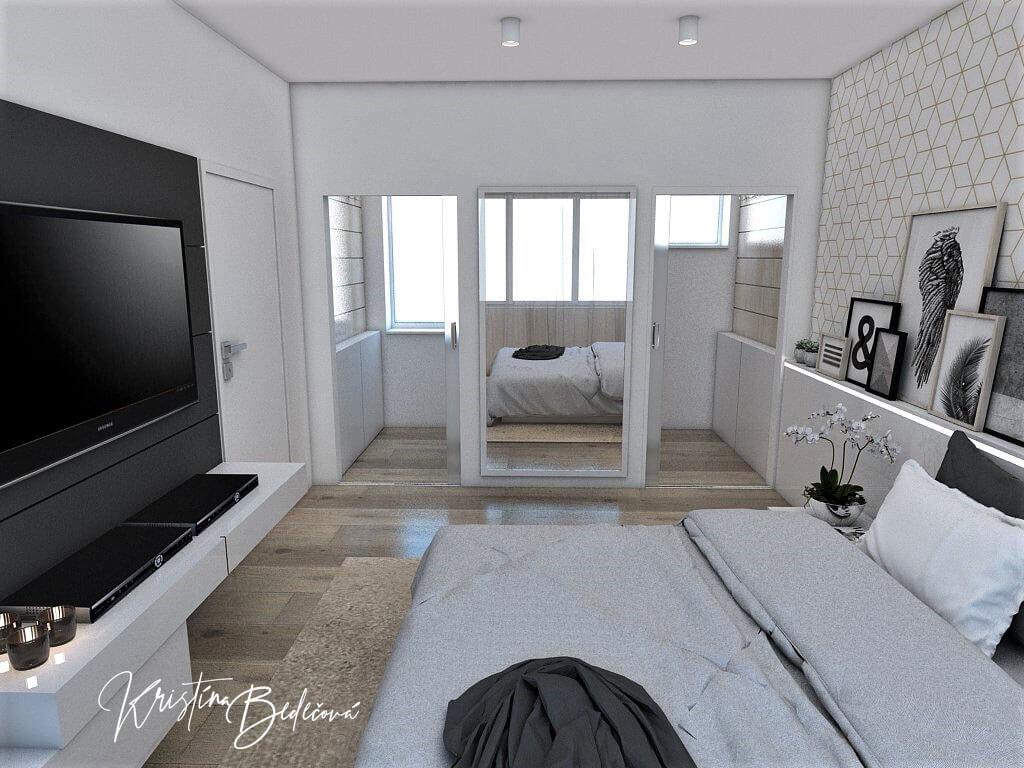 Dizajn interiéru spálne Jemná neha, pohľad na rodičovskú kúpeľňu