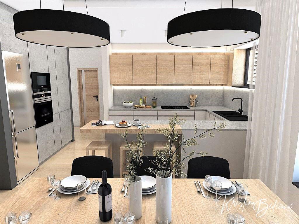 Dizajn kuchyne s obývačkou V tmavých tónoch, pohľad od jedálenského stolu do kuchyne