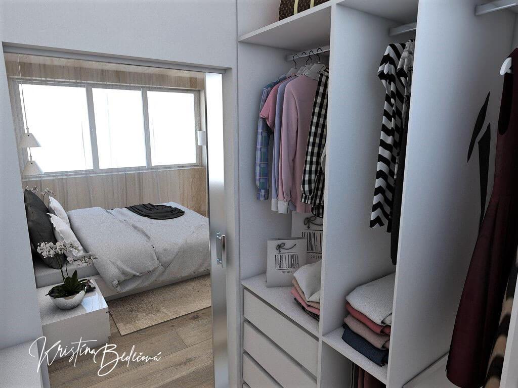 Dizajn interiéru spálne Jemná neha, pohľad na závesný systém v šatníku