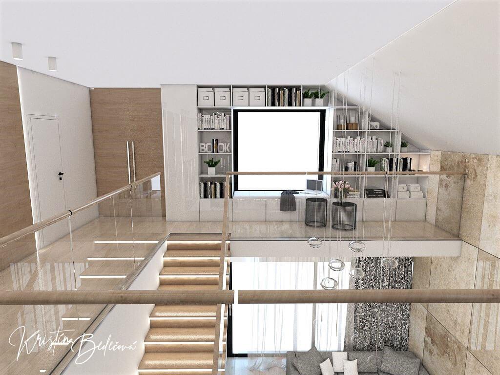 Návrh rodinného domu Rodinný dom s wellness, pohľad z galérie na knižnicu