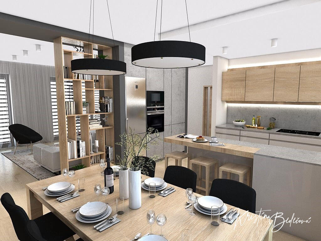 Dizajn kuchyne s obývačkou V tmavých tónoch, pohľad z jedálenského stolu do obývačky