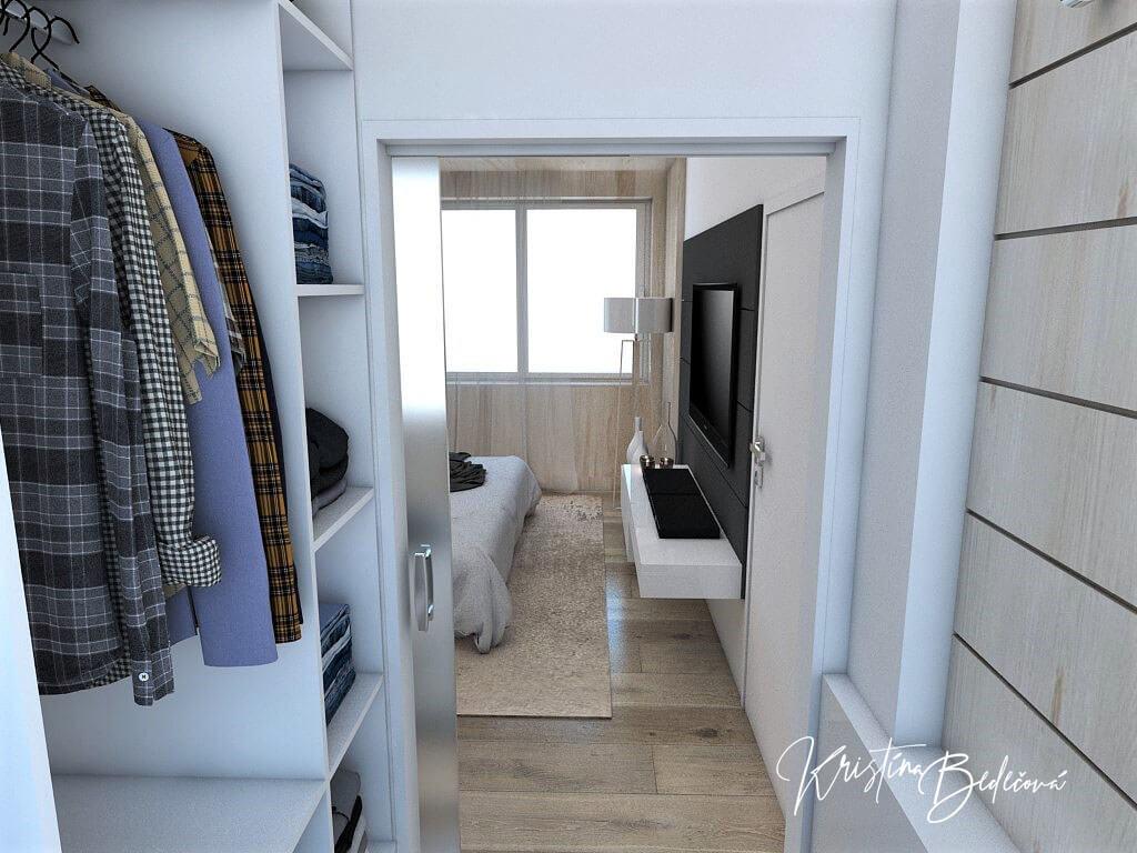 Dizajn interiéru spálne Jemná neha, pohľad zo šatníka