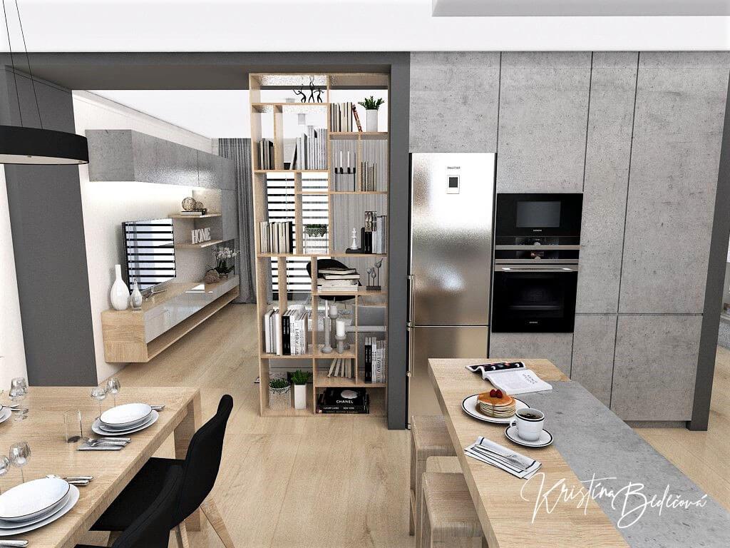 Dizajn kuchyne s obývačkou V tmavých tónoch, pohľad z barového pultu do obývačky