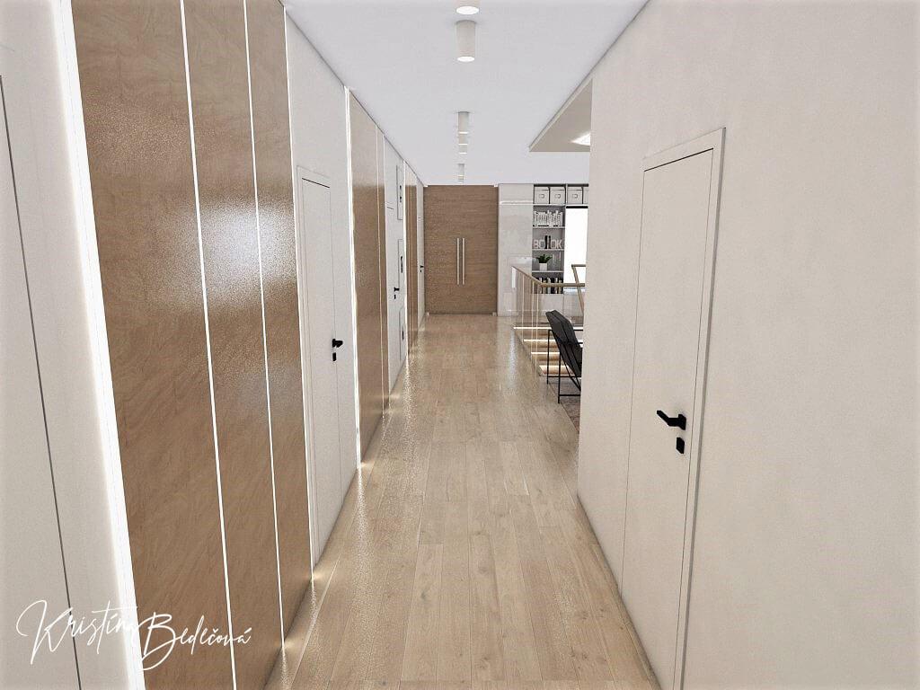 Návrh rodinného domu Rodinný dom s wellness, pohľad na chodbu na 1. poschodí