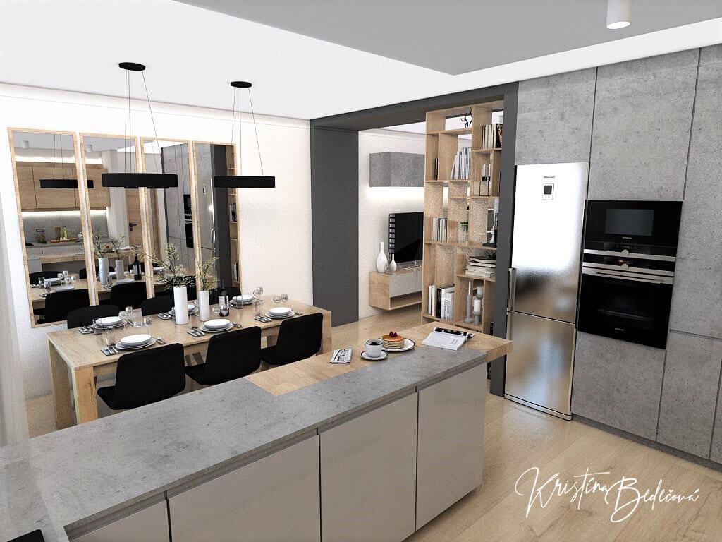 Dizajn kuchyne s obývačkou V tmavých tónoch, pohľad z kuchyne do jedálne a z časti do obývačky