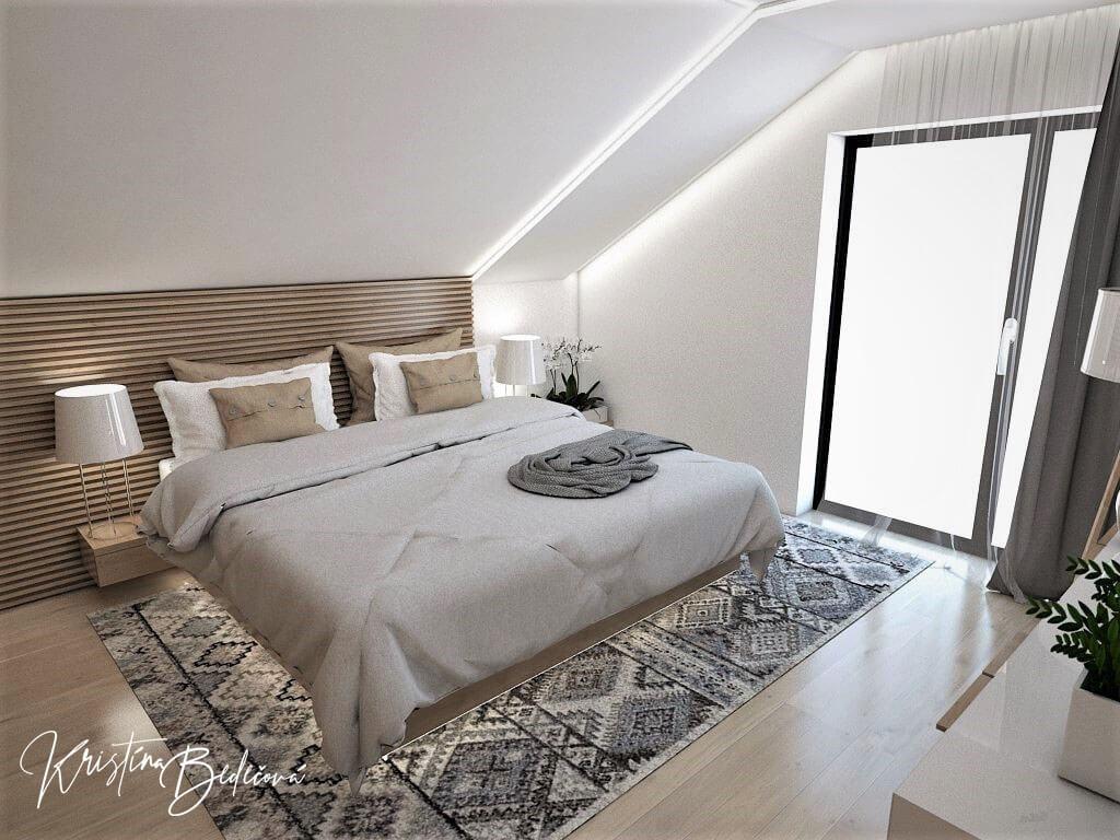 Návrh rodinného domu Rodinný dom s wellness, pohľad do spálne na prvom poschodí