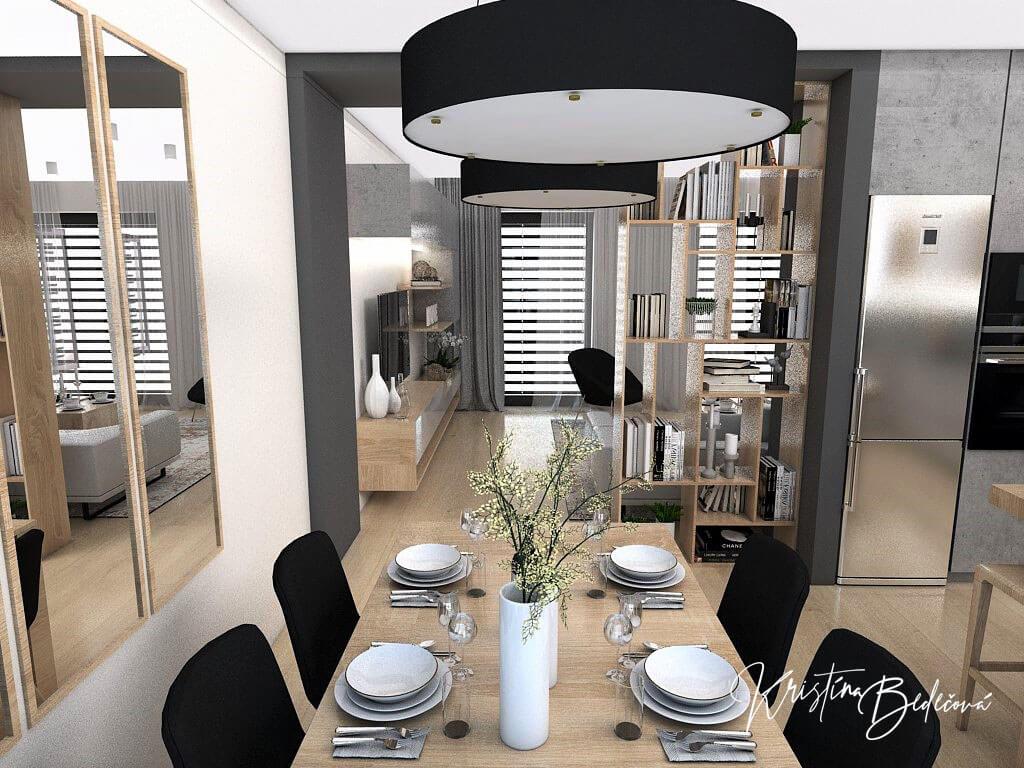 Dizajn kuchyne s obývačkou V tmavých tónoch, pohľad na jedálenský stôl