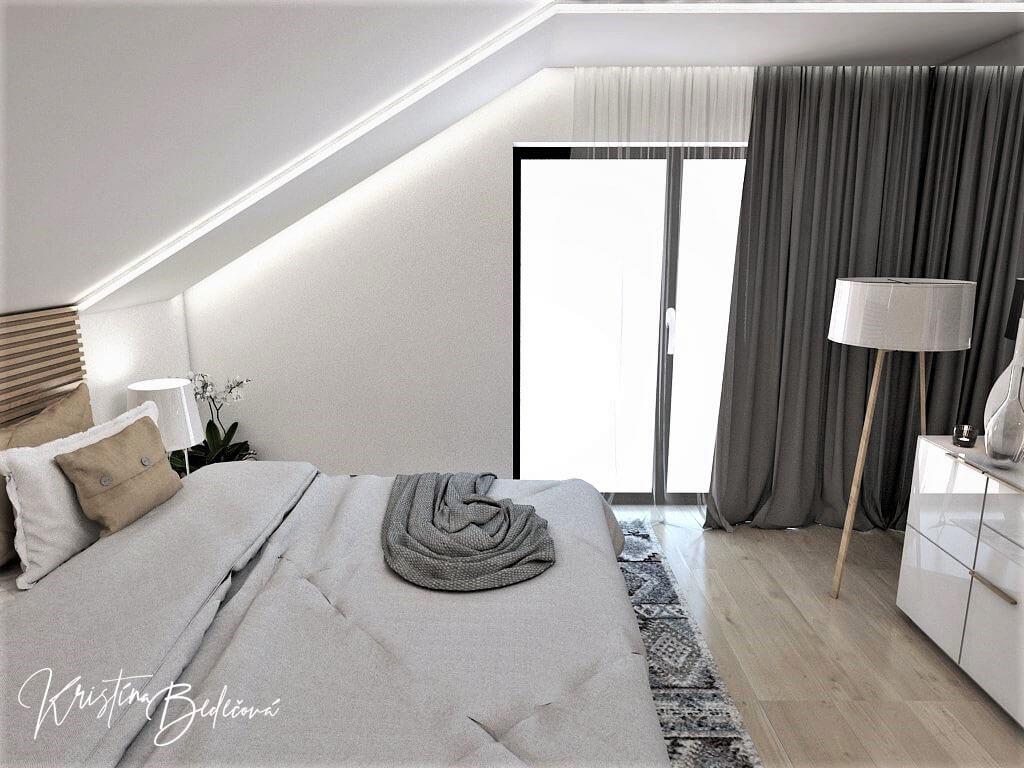Návrh rodinného domu Rodinný dom s wellness, pohľad na okno v spálni