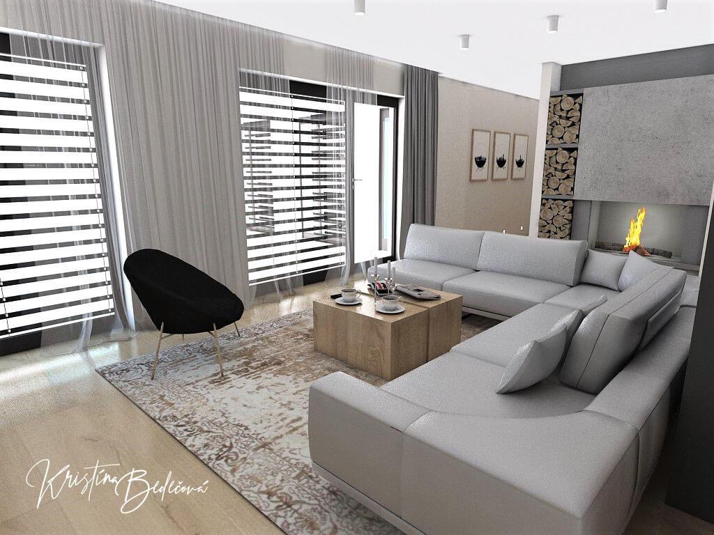 Dizajn kuchyne s obývačkou V tmavých tónoch, pohľad na sedaciu súpravu v obývačke