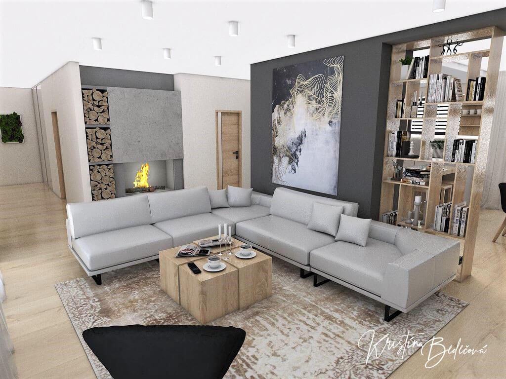Dizajn kuchyne s obývačkou V tmavých tónoch, pohľad na sedaciu súpravu a krb v obývačke