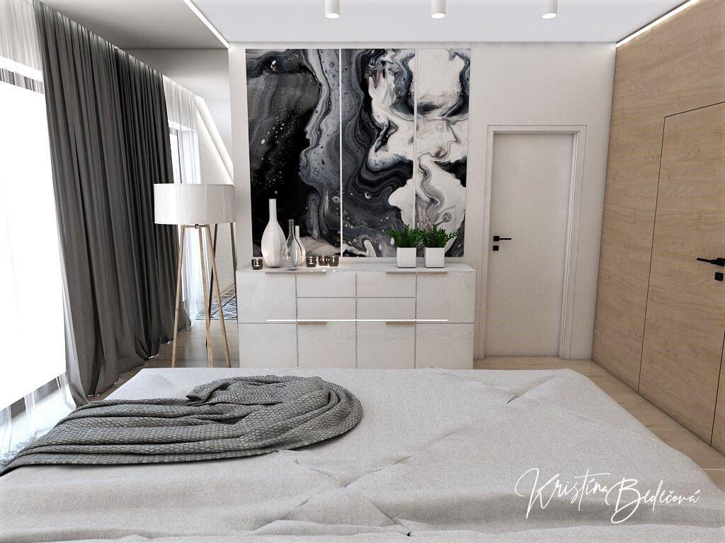 Návrh rodinného domu Rodinný dom s wellness, pohľad na vstup do spálne a šatníka spálne