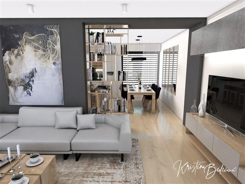 Dizajn kuchyne s obývačkou V tmavých tónoch, pohľad z obývačky do kuchyne