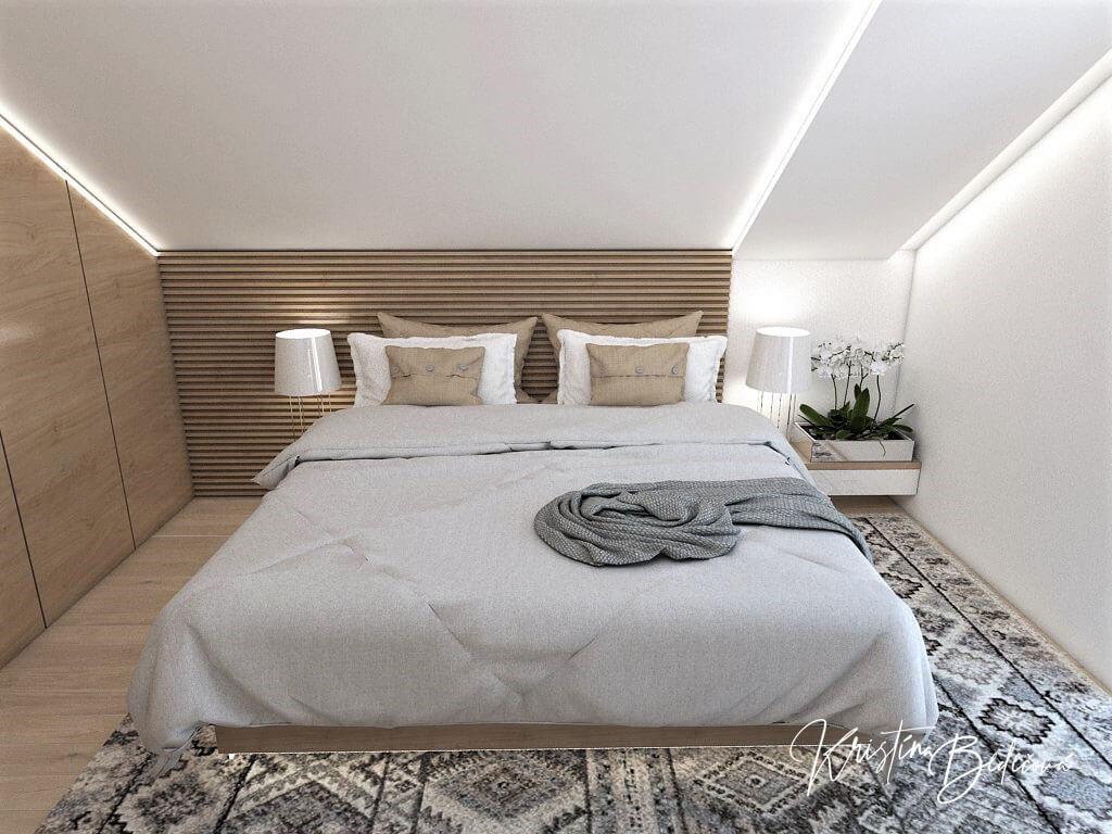 Návrh rodinného domu Rodinný dom s wellness, pohľad na manželskú posteľ