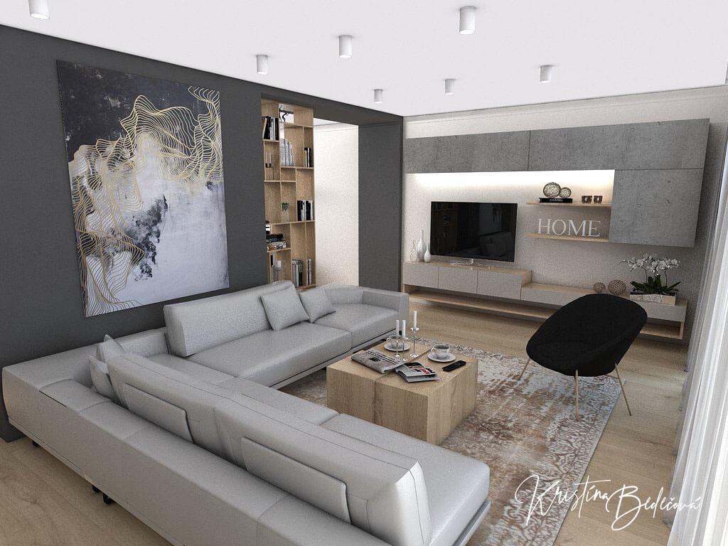 Dizajn kuchyne s obývačkou V tmavých tónoch, pohľad spoza sedacej súpravy