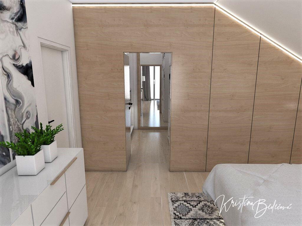 Návrh rodinného domu Rodinný dom s wellness, pohľad na vstup do šatníka zo spálne