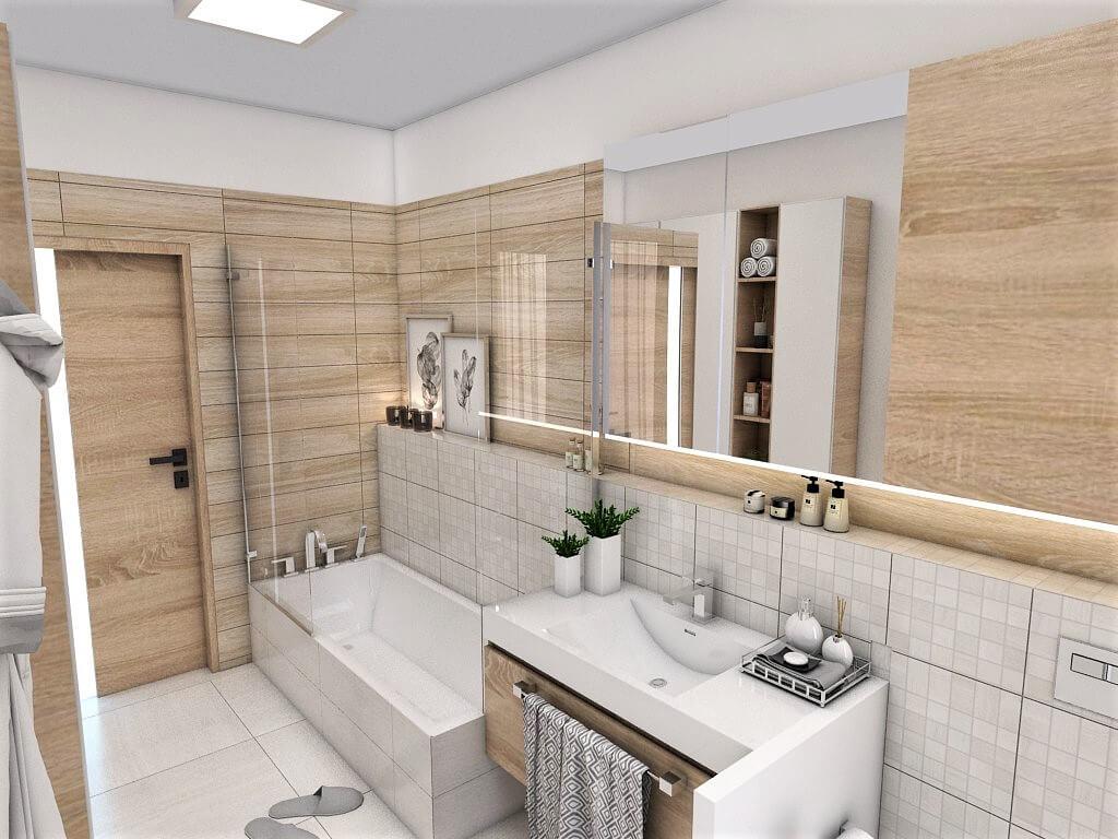 Návrh interiéru kúpeľní 2 v 1 pohľad na vaňu spoločnej kúpeľne