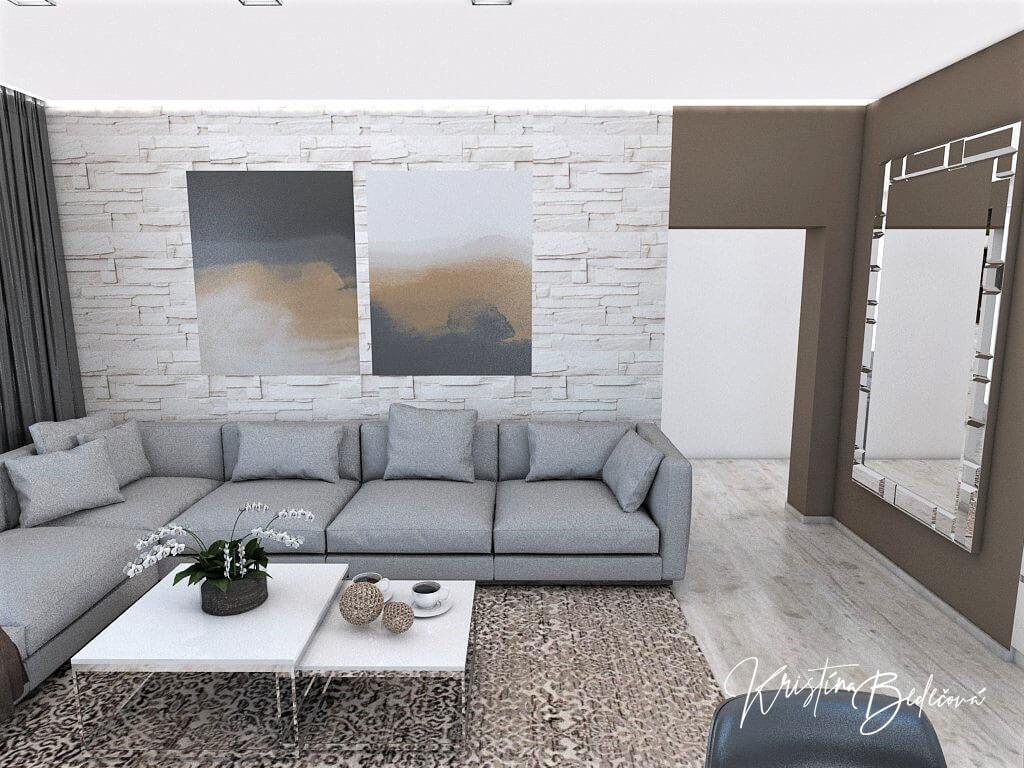 Dizajn kuchyne s obývačkou Fuknčná elegancia, pohľad na obrazy nad sedačkou