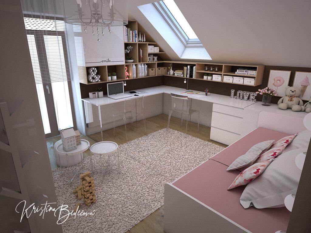 Návrh interiéru a vizualizácia detskej izby Sesterský duet, pohľad od vstupu