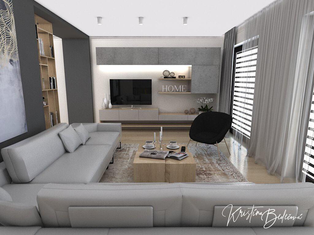 Dizajn kuchyne s obývačkou V tmavých tónoch, pohľad cez sedaciu súpravu na TV