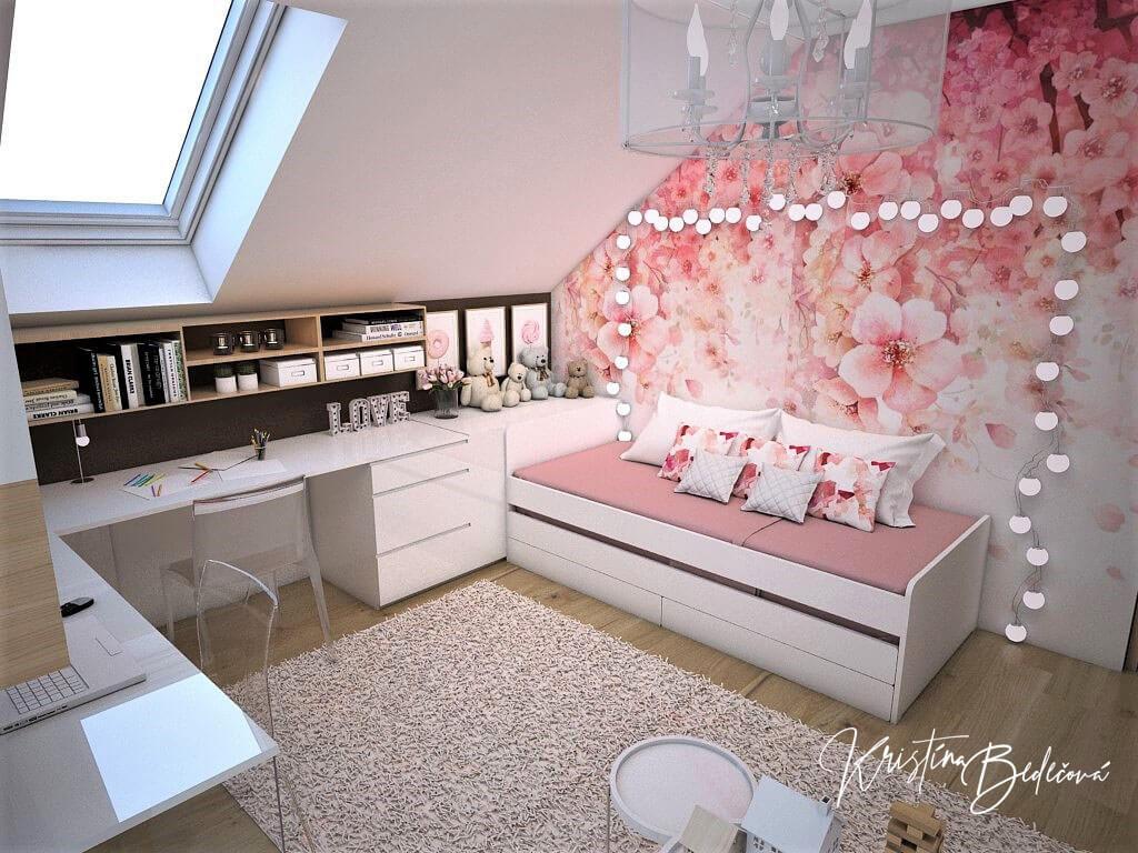 Návrh interiéru a vizualizácia detskej izby Sesterský duet, pohľad na posteľ