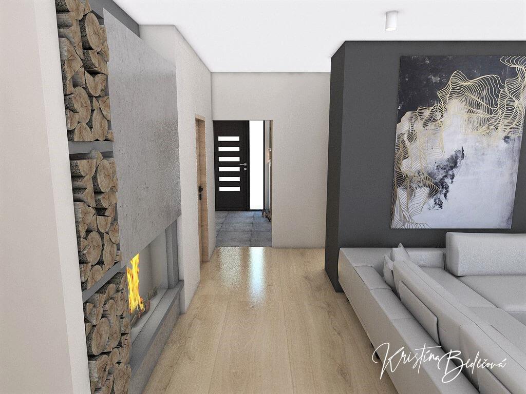 Dizajn kuchyne s obývačkou V tmavých tónoch, pohľad na vstup do domu