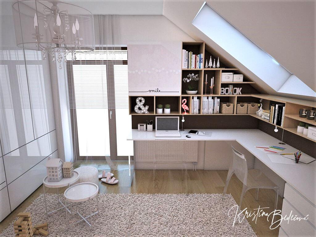 Návrh interiéru a vizualizácia detskej izby Sesterský duet, pohľad z postele