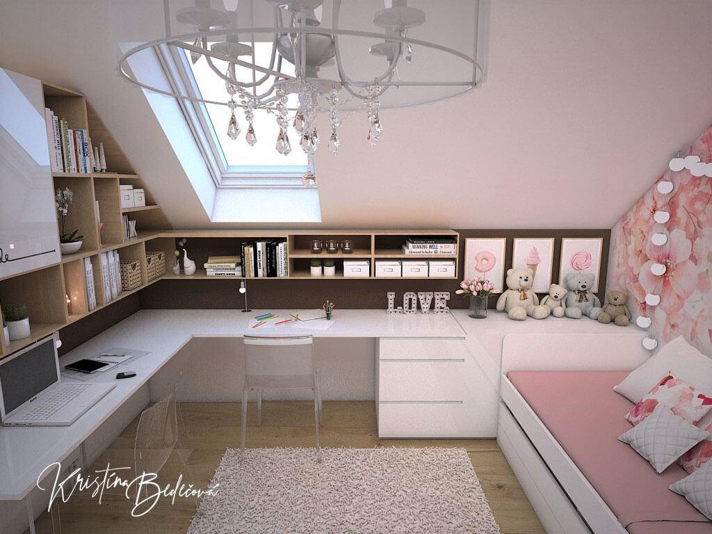 Návrh interiéru a vizualizácia detskej izby Sesterský duet, pohľad na stolíky