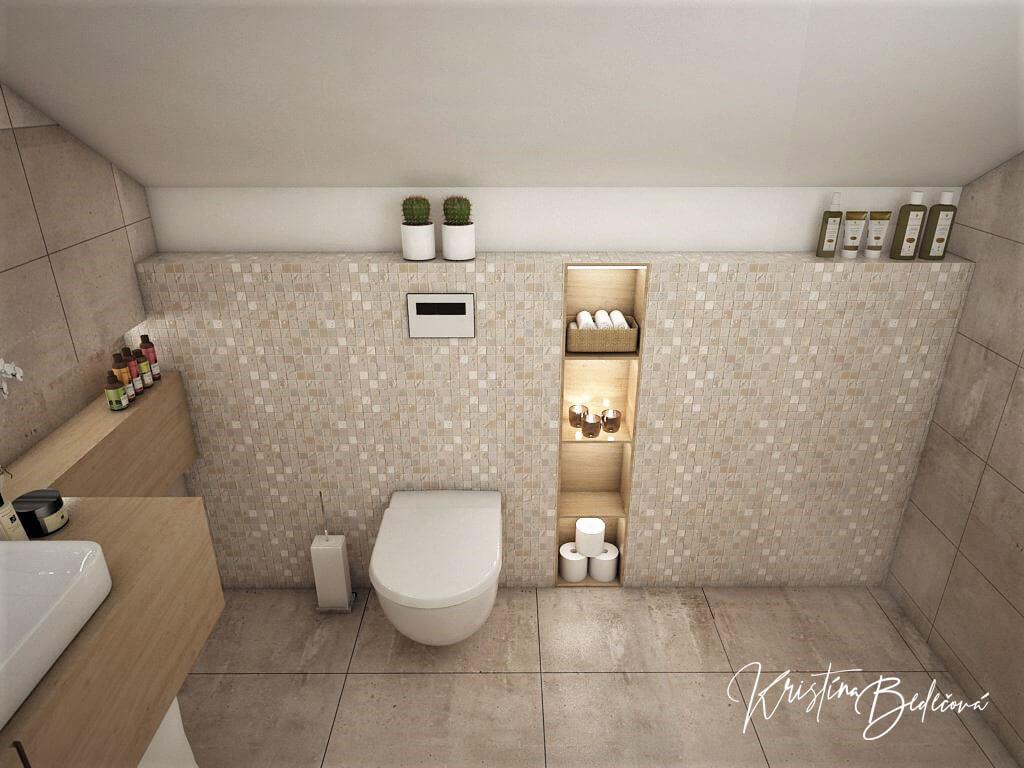 Návrh rodinného domu Rodinný dom s wellness, pohľad do rodičovskej kúpeľne z dverí