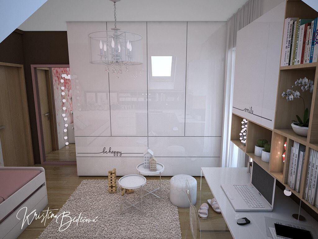 Návrh interiéru a vizualizácia detskej izby Sesterský duet, pohľad od strešného okna